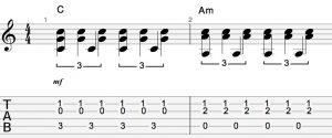 C Am tab with doublestops