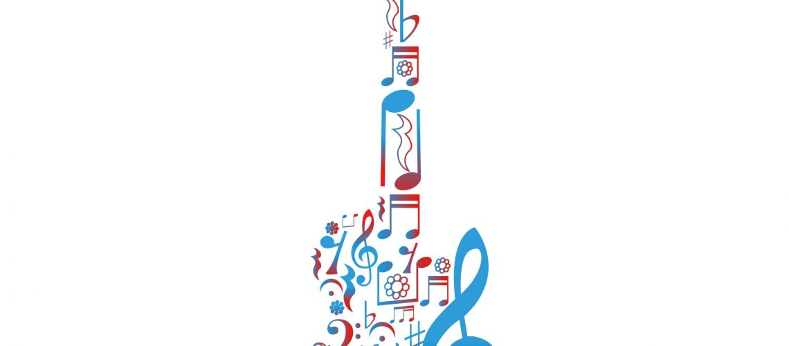 Guitar figure composed of notes